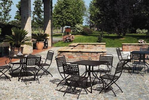 Arturo tavolo quadrato, Tavolo quadrato per giardino in metallo, 80x80 cm