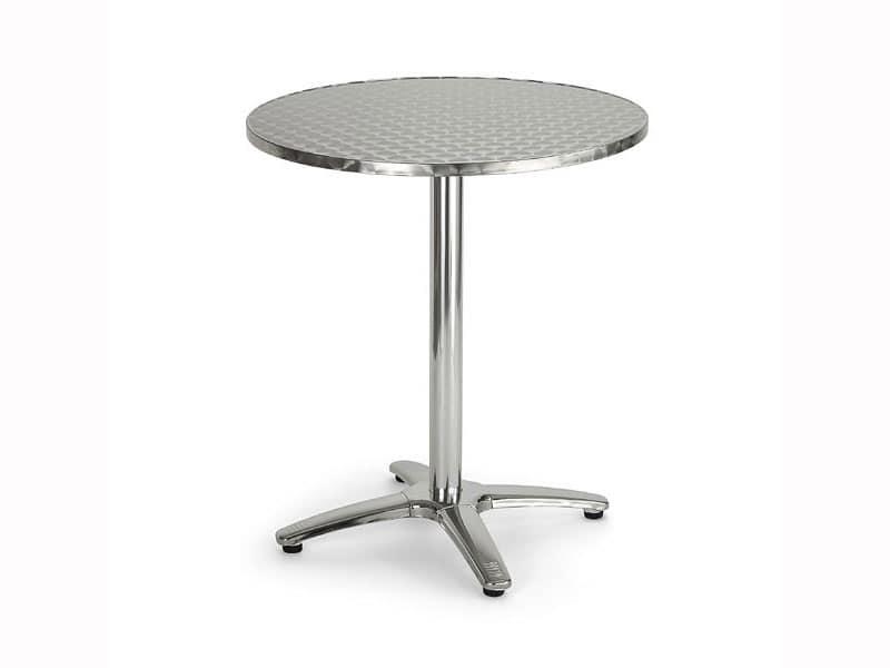 086, Tavolino rotondo in metallo per bar e ristoranti