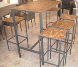 3042, Tavolino alto per bar, con piano in multistrato abete