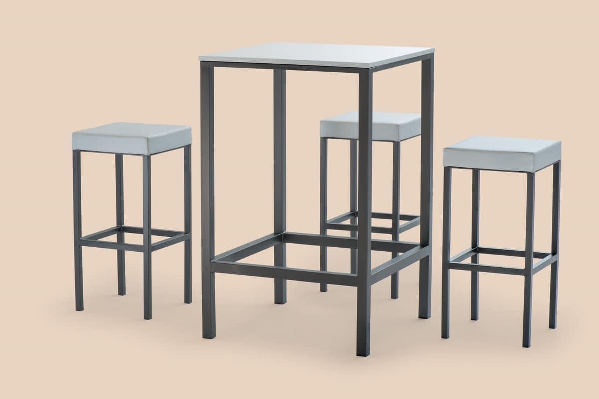 FT 044 / H110, Tavolo alto in metallo verniciato, con piedini antiscivolo