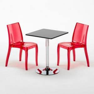 Set bar sedie e tavolo arredamento – SET2SDEHOR, Tavolino quadrato per bar e ristoranti, con piano in laminato