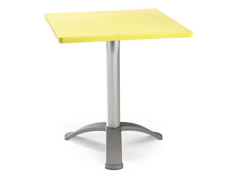 Tavolo 60x60 cod. 20/BG3, Tavolino quadrato con base in alluminio anodizzato