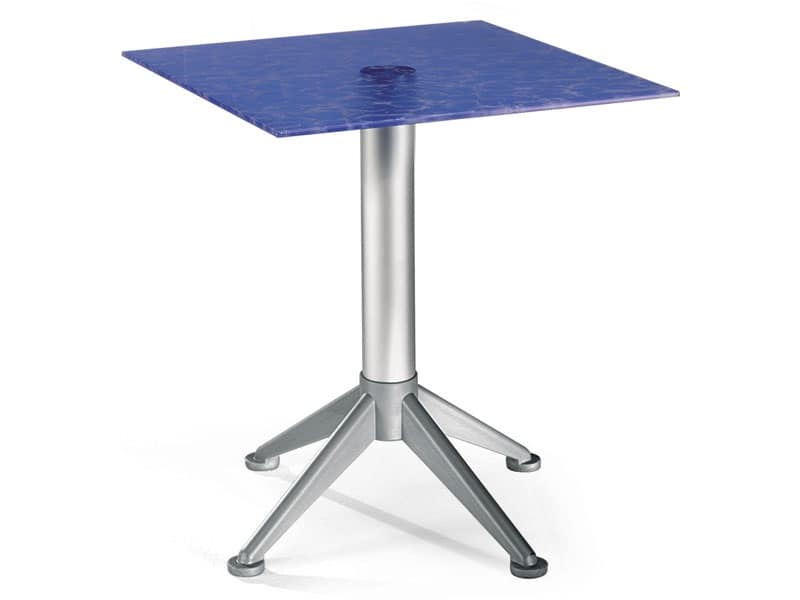 Tavolo 60x60 cod. 20/BG4AV, Tavolino inossidabile con piano in vetro colorato