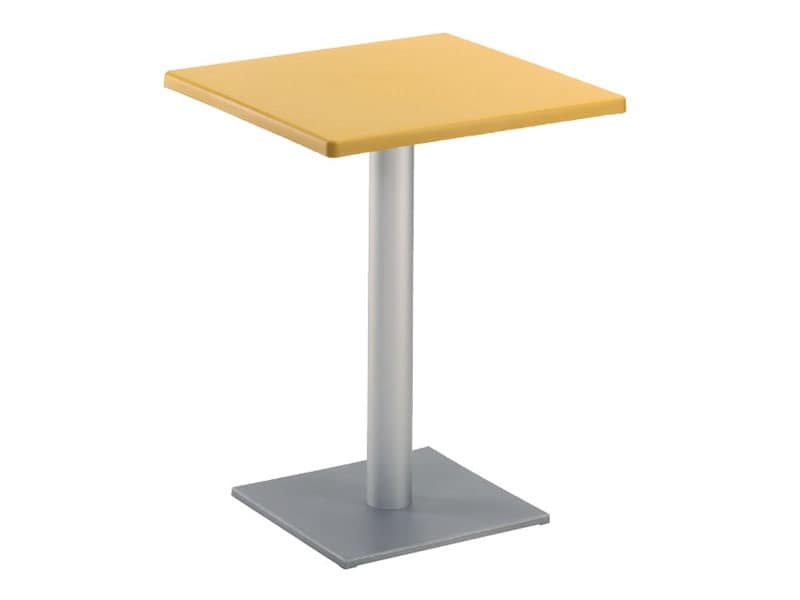 Tavolo 60x60 cod. 20/BQ, Tavolino moderno quadrato, con base quadrata, per esterni