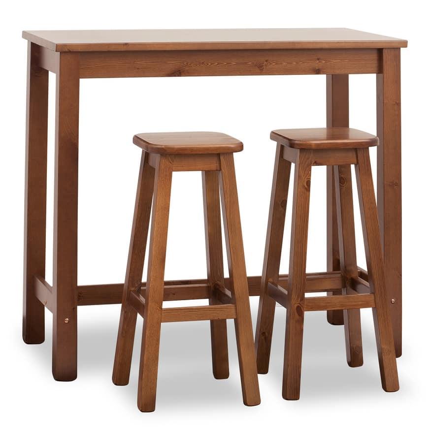 Tavolo alto per bar rettangolare fatto in pino idfdesign for Tavolo cucina 120x60