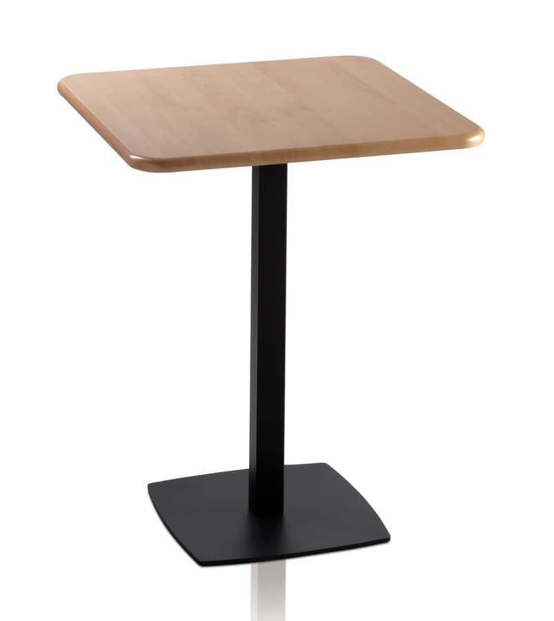 TOTEM 410, Tavolino quadrato per bar, base quadrata in metallo