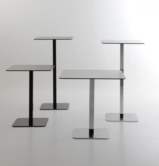 Voilà square h75, Tavolino per bar, piano quadrato in hpl, base quadrata in metallo