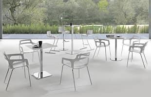 Bistrot, Tavolo alto in acciaio cromato, resistente, per bar moderni