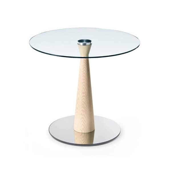 Tavolino tondo con base in metallo e legno, piano in vetro ...