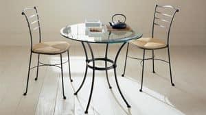 Prado tavolino, Tavolino da bar con base in ferro, piano in vetro trasparente