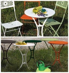 Raffaello tavolo, Tavolino in metallo con piano tondo, per esterni