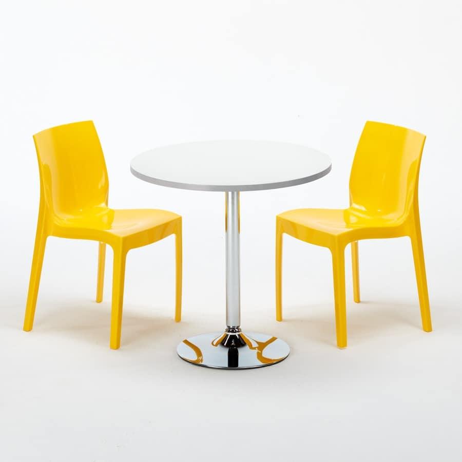 Tavolini Sedie Bar.Tavolino Rotondo Con Gamba In Acciaio Specchiato Idfdesign