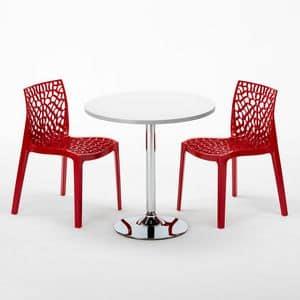 Set bar interno sedie e tavolo – SET2SCOCKTAIL, Tavolino rotondo con gamba in acciaio specchiato
