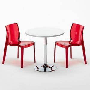 Set sedie e tavolo impilabile � SET2SGHOST, Tavolino rotondo con sedie trasparenti, per bar e hotel