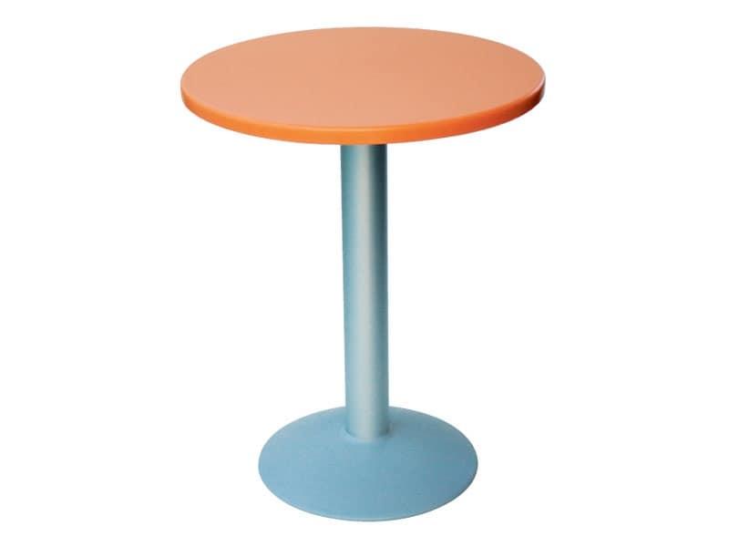 Tavolo Ø 60 cod. 04/BT, Tavolino tondo con base tonda in alluminio
