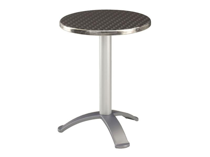 Tavolo Ø 60 cod. 04.IF/BG3, Tavolino in acciaio inox per bar, base a 3 piedi