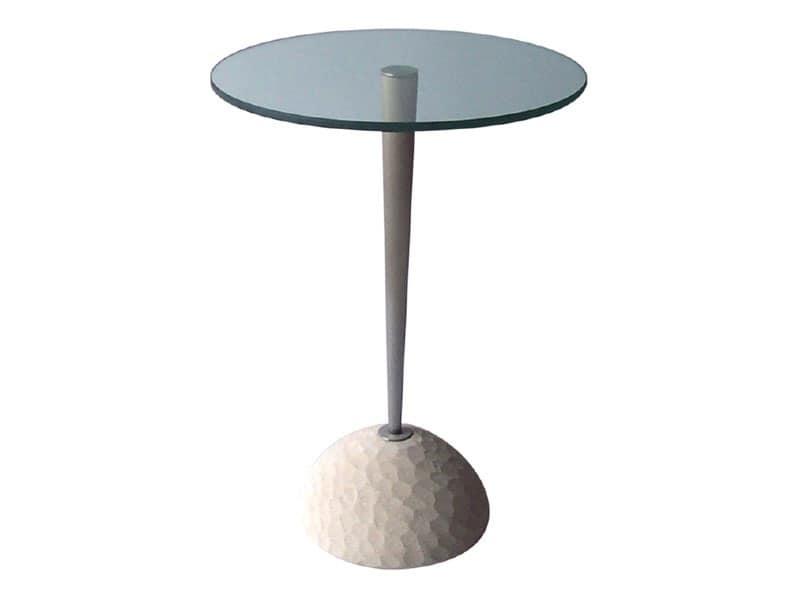 Egon, Tavolino tondo in pietra e cristallo, per bar e ristoranti