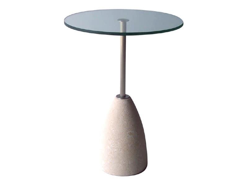 Tavolo rotondo in pietra e vetro, per bar e pub | IDFdesign