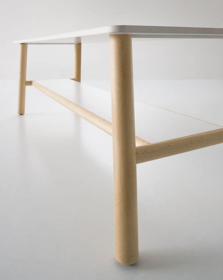 Woody, Tavolino basso con gambe in faggio, doppio piano