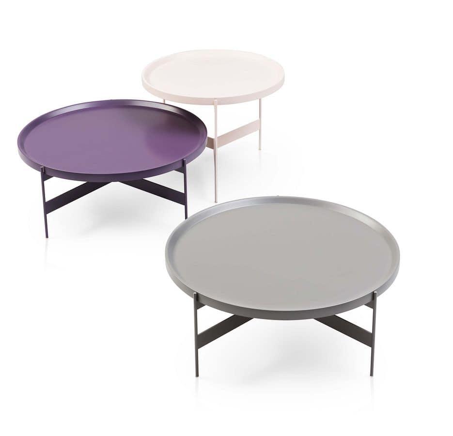 Abaco, Tavolini tondi in metallo, in diverse finiture