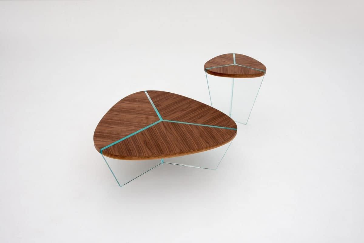 Eleganti tavolini in vetro e legno per salotti idfdesign for Tavolini in legno e vetro