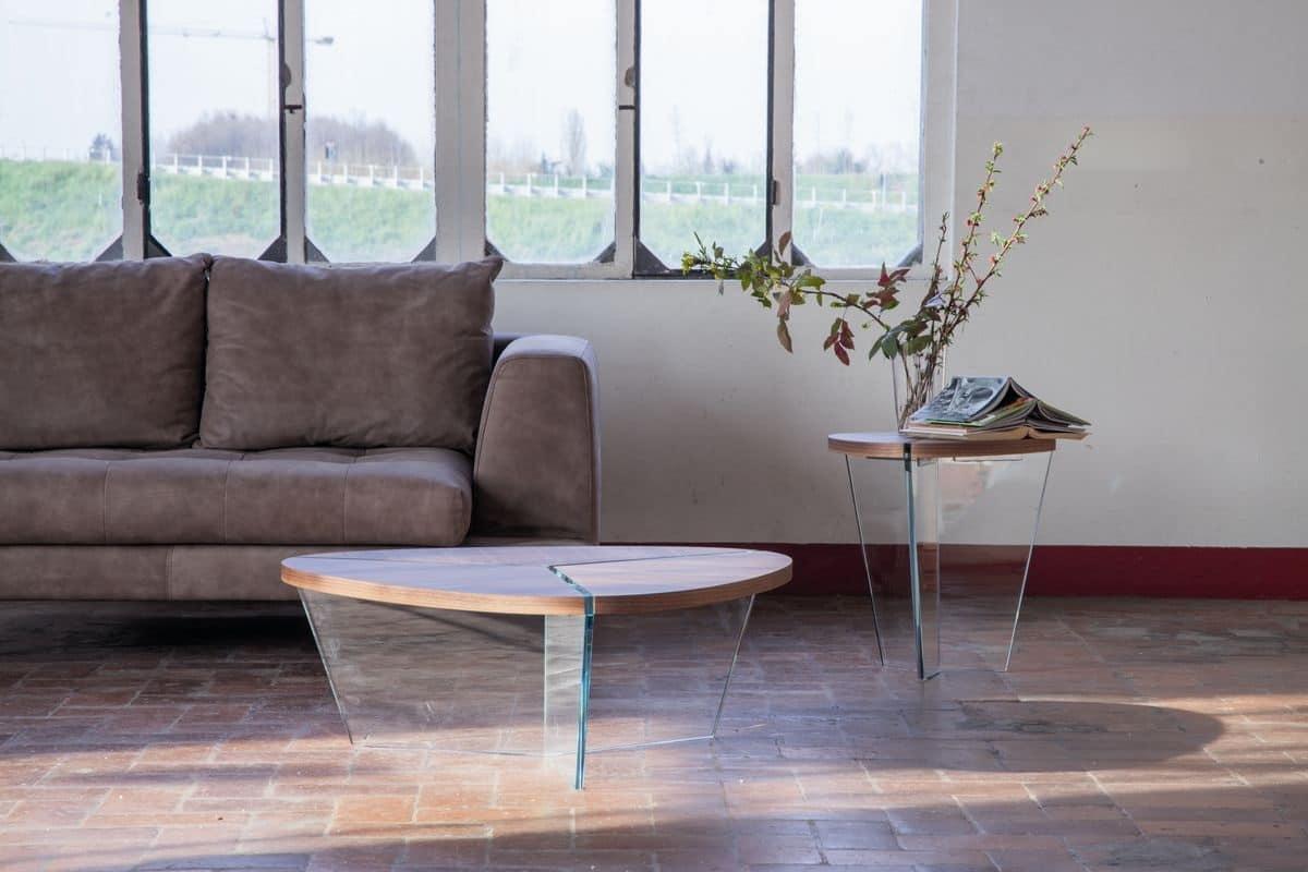 Eleganti tavolini in vetro e legno per salotti idfdesign for Tavolini vetro