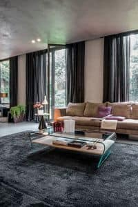 AMARANTO, Tavolino rettangolare in vetro curvo con piano in legno e vetro