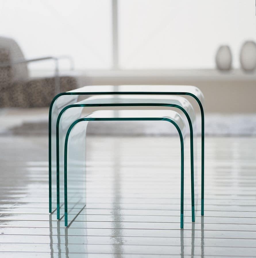 Set di tavolini in vetro moderni per salotti idfdesign for Design moderni della casa di vetro