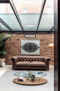 ARONA, Tavolino centro sala con portariviste, tavolino piano in vetro per salotti