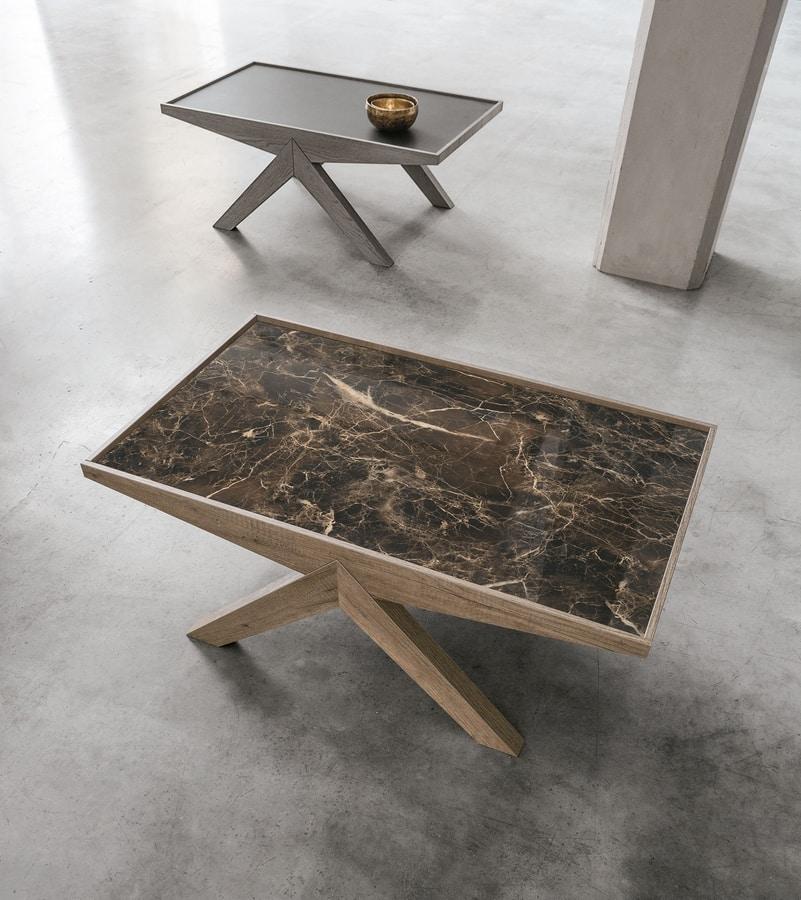 ARROW TL535, Tavolino con piano in gres porcellanato