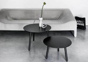 BCN Low, Tavolino in legno e laminato, con 3 gambe, per salotto