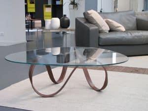 Belt, Tavolino base in metallo rivestita in pelle, piano in vetro, per salotti moderni