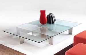 Bridge 2, Tavolino per centro sala, in acciaio e cristallo
