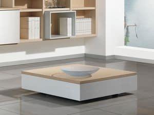 Complementi Tavolino Legno 01, Tavolino basso in legno con box contenitore