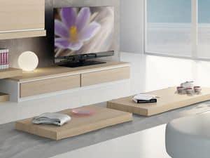 Complementi Tavolino Legno 03, Tavolino basso in legno, per salotti moderni