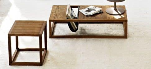 Dorsoduro tavolino, Tavolino in legno massiccio, con portariviste in cuoio