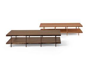Farnsworth B, Tavolino dal design essenziale, in vetro e legno