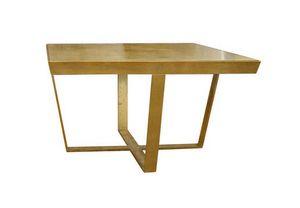 Foglia Oro, Tavolino con piano in vetro