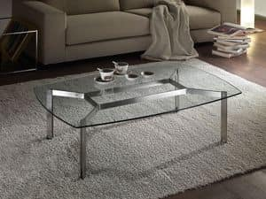 Haiti tavolino, Tavolino rettangolare in vetro da salotto, angoli arrotondati
