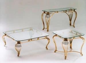 Sofia, Tavolino in ottone antichizzato con piano in vetro