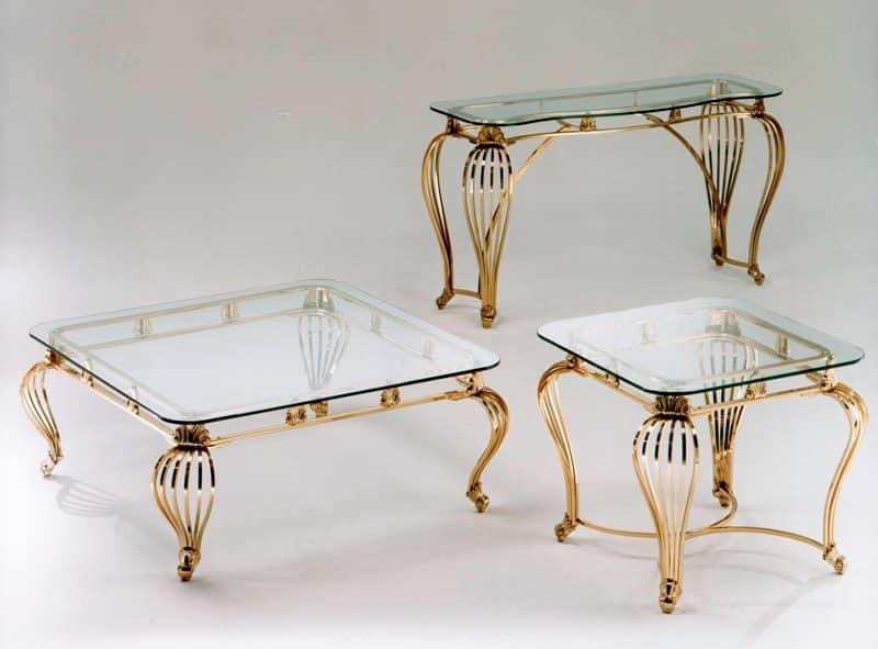 Tavolino in ottone antichizzato con piano in vetro idfdesign - Tavolini vetro e ottone ...
