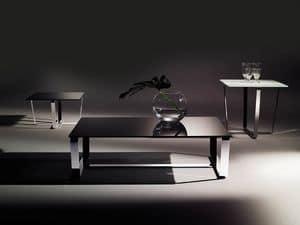 Sushi low table 1, Tavolino rettangolare con piano in cristallo stratificato