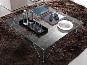 T16 sipario, Tavolino quadrato realizzato interamente in cristallo