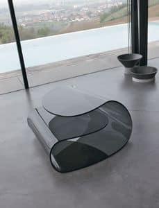 VOLUP, Tavolino basso in vetro curvo, pregiata lavorazione, ufficio