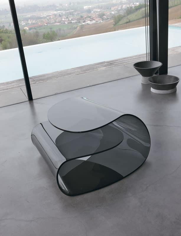 Tavolino basso in vetro curvo pregiata lavorazione for Tavolini per ufficio