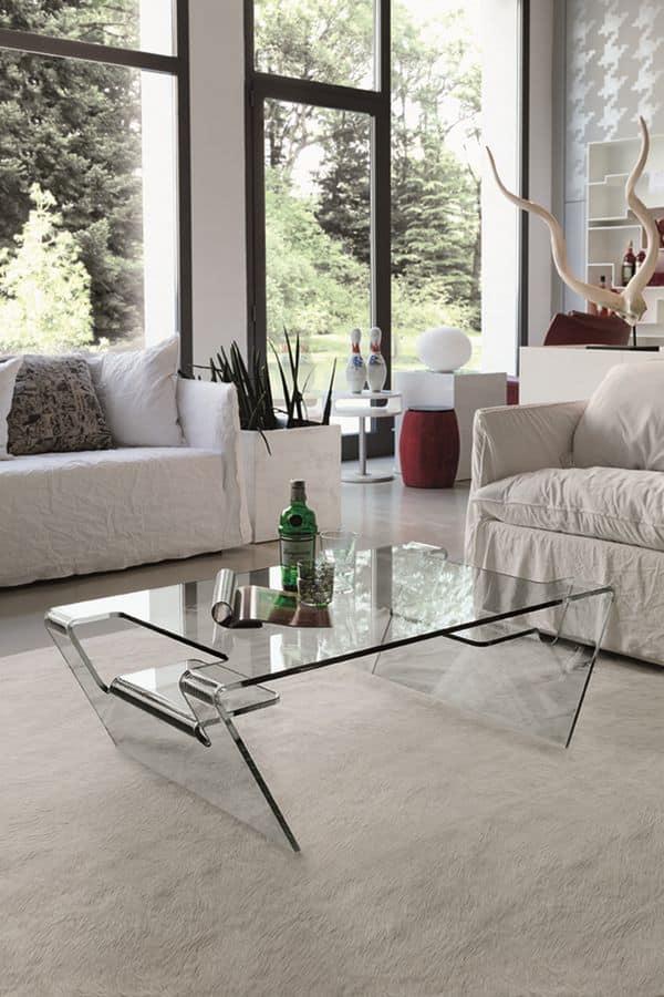 Tavolino in vetro per salotto moderno idfdesign for Tavolini moderni