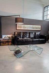 ALARIC, Tavolino in vetro, con portariviste, per salotto o sala attesa