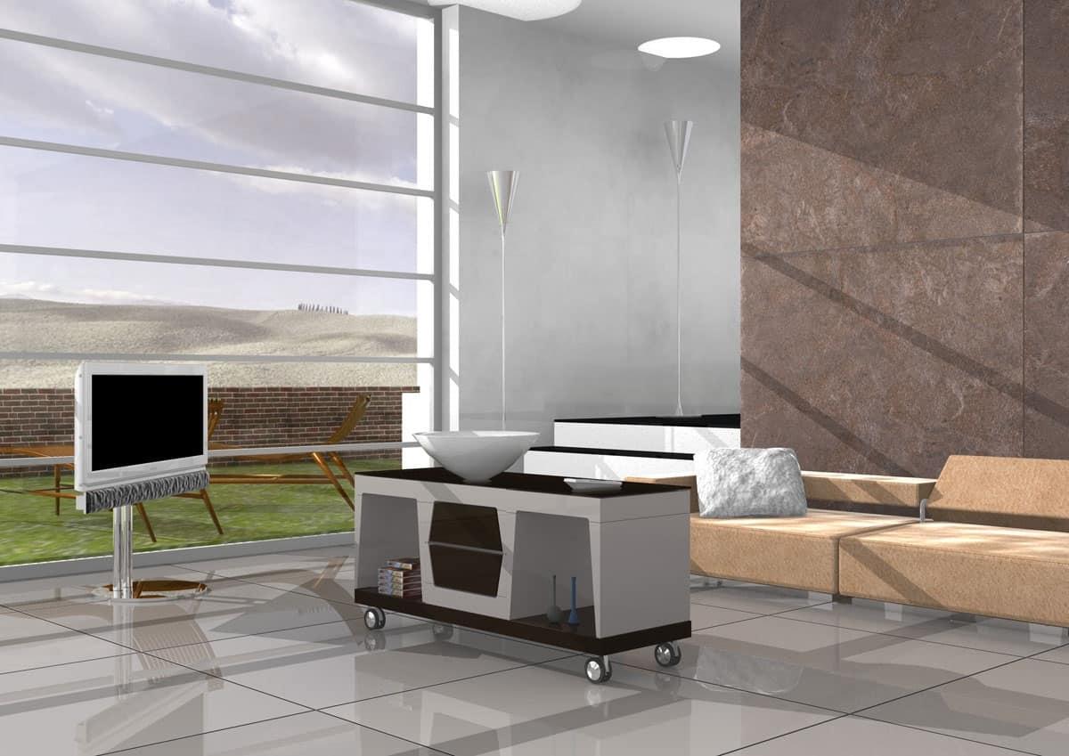 Tavolino lineare con ruote e piano in vetro  IDFdesign