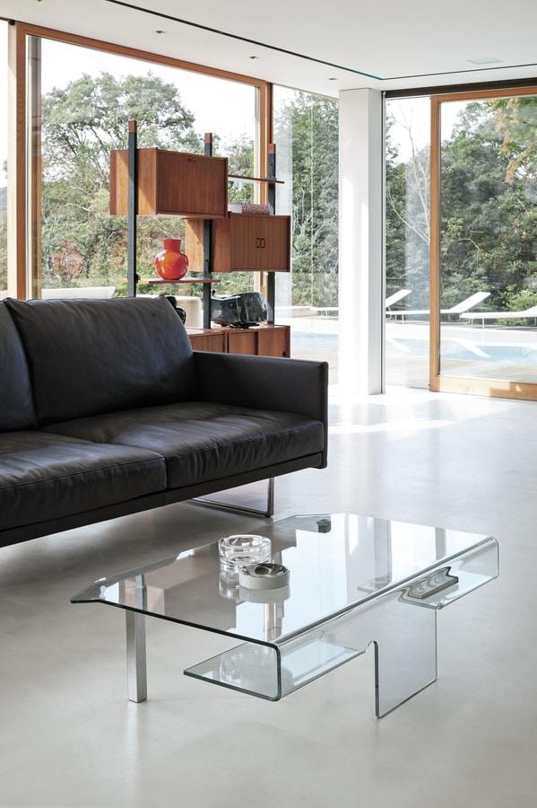 ARIES TLC07, Tavolino in vetro con gambe in metallo cromato