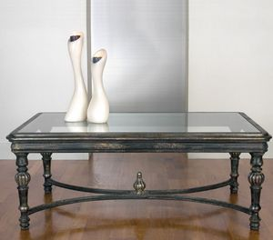Art. 20496, Tavolino classico per salotto, con piano in vetro